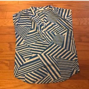 New York & Company Blue Stripes Blouse